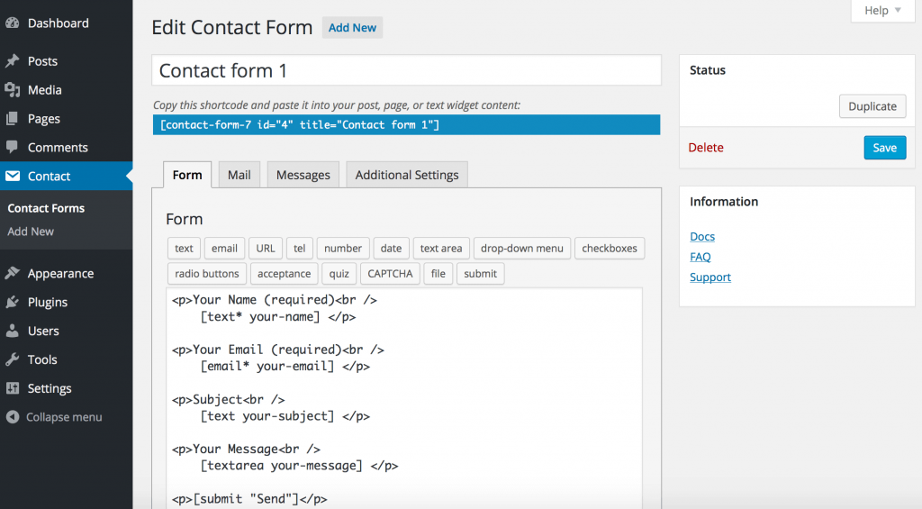 contact form 7 interface